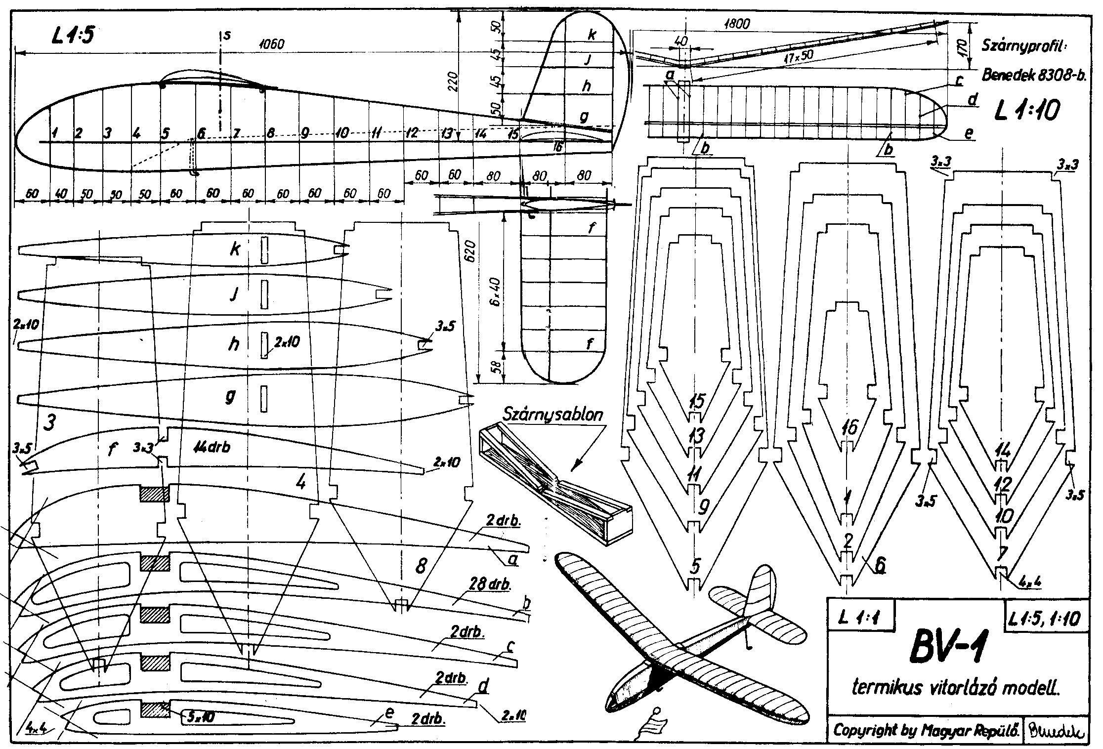 BV-1 termikus vitorláyó modell